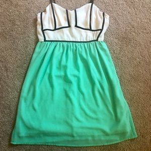 Jealous Tomato Green and White Dress